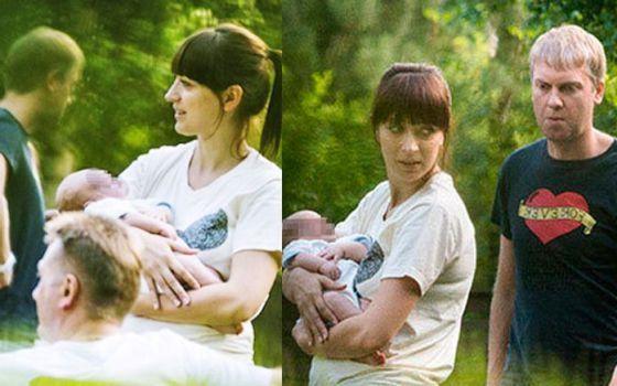 с новорожденным сыном