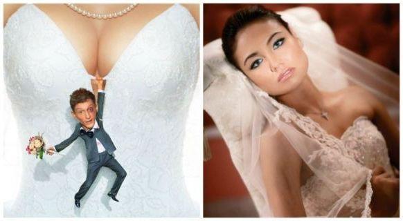в платье свадебном